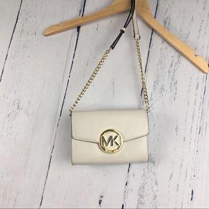 Michael Kors White Leather Chain Crossbody